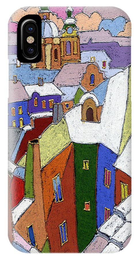 Pastel IPhone X Case featuring the painting Prague Old Roofs Winter by Yuriy Shevchuk