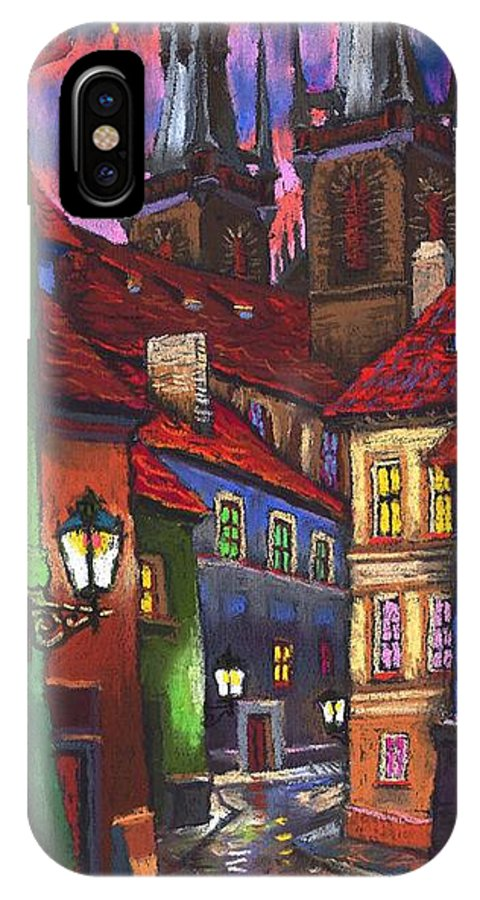 Pastel IPhone X Case featuring the painting Prague Old Street 01 by Yuriy Shevchuk