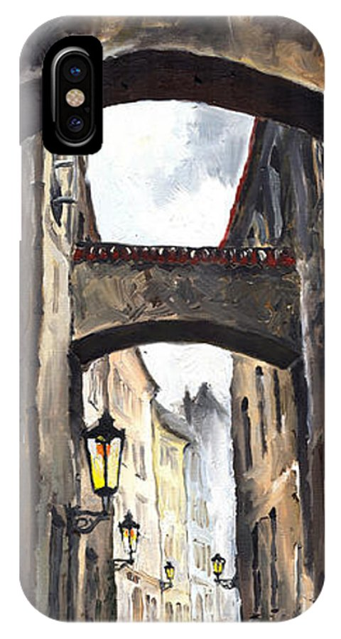 Oil On Canvas Paintings IPhone Case featuring the painting Prague Old Street 02 by Yuriy Shevchuk