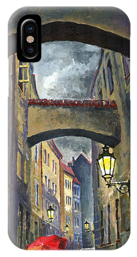 Oil IPhone X Case featuring the painting Prague Old Street Love Story by Yuriy Shevchuk