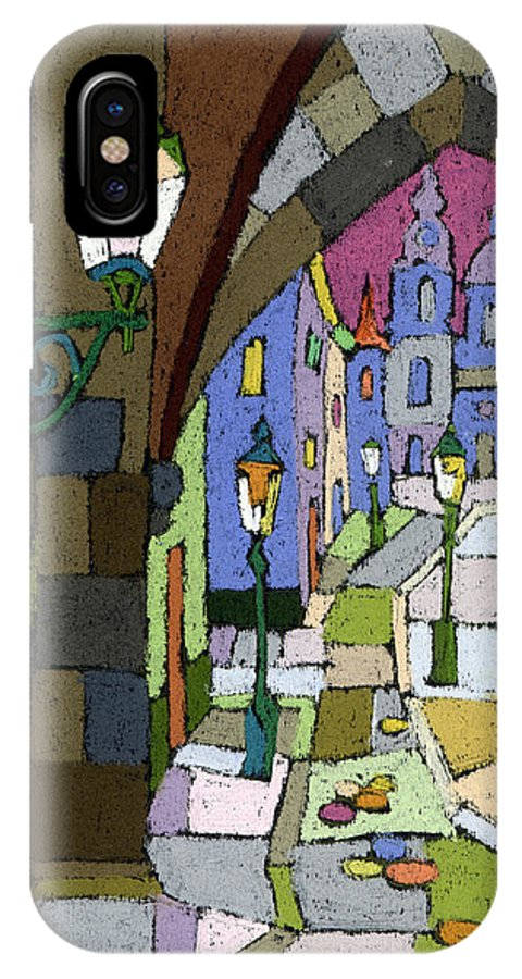 Pastel IPhone X Case featuring the painting Prague Old Street Mostecka by Yuriy Shevchuk