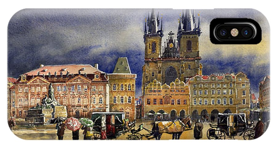 Watercolor IPhone X Case featuring the painting Prague Old Town Squere After Rain by Yuriy Shevchuk