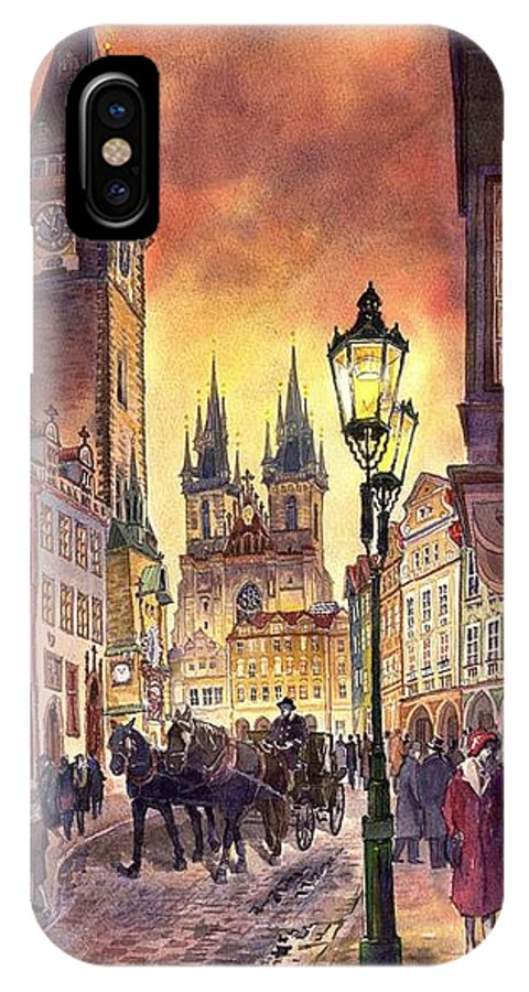 Cityscape IPhone X Case featuring the painting Prague Old Town Squere by Yuriy Shevchuk