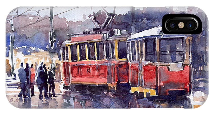 Cityscape IPhone X Case featuring the painting Prague Old Tram 01 by Yuriy Shevchuk
