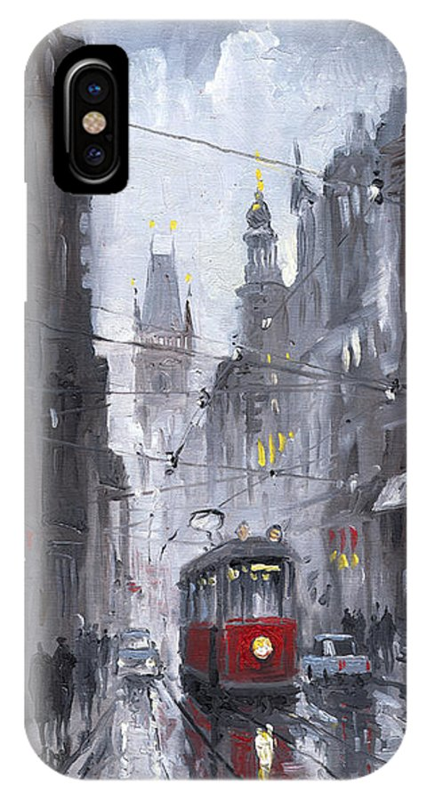 Oil On Canvas IPhone X Case featuring the painting Prague Old Tram 03 by Yuriy Shevchuk