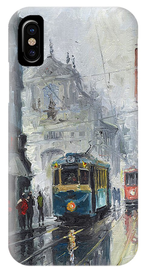 Oil On Canvas IPhone X Case featuring the painting Prague Old Tram 04 by Yuriy Shevchuk