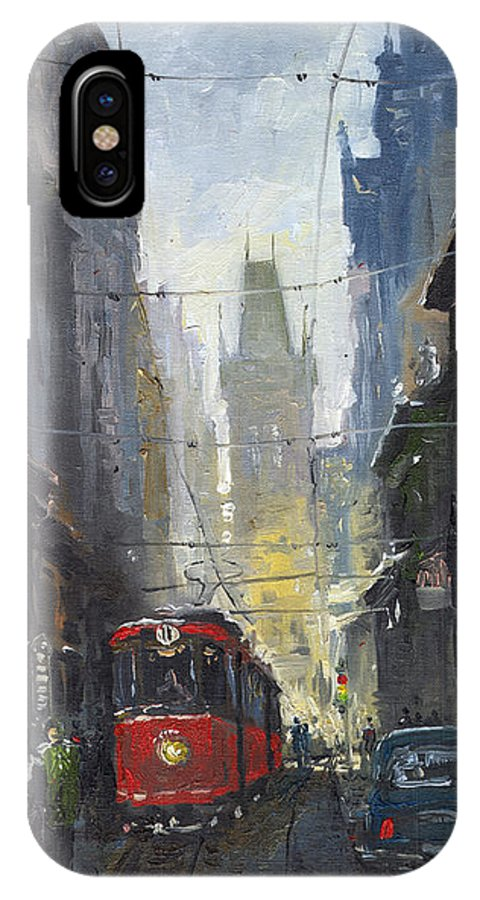 Oil On Canvas Paintings IPhone X Case featuring the painting Prague Old Tram 05 by Yuriy Shevchuk