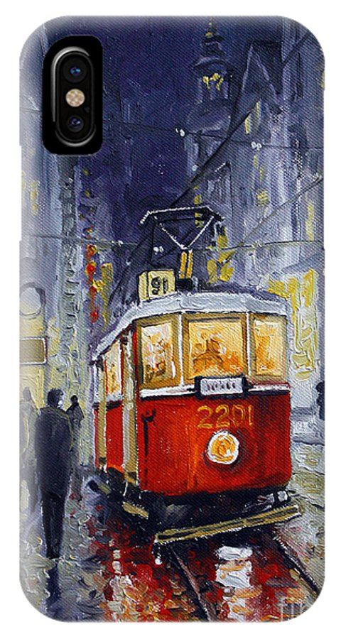 Oil IPhone Case featuring the painting Prague Old Tram 06 by Yuriy Shevchuk