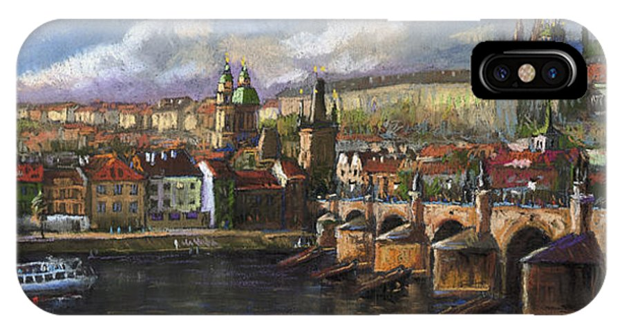 Pastel IPhone X Case featuring the painting Prague Panorama Charles Bridge Prague Castle by Yuriy Shevchuk