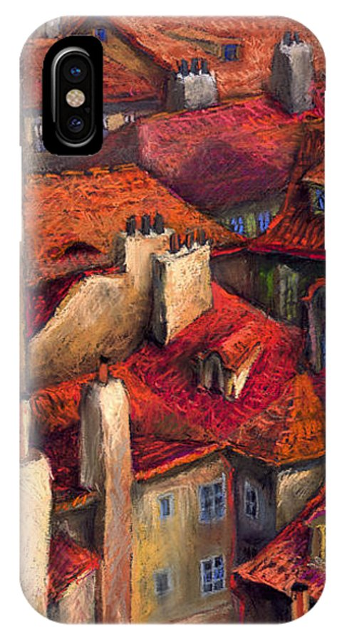 Prague IPhone X / XS Case featuring the painting Prague Roofs by Yuriy Shevchuk