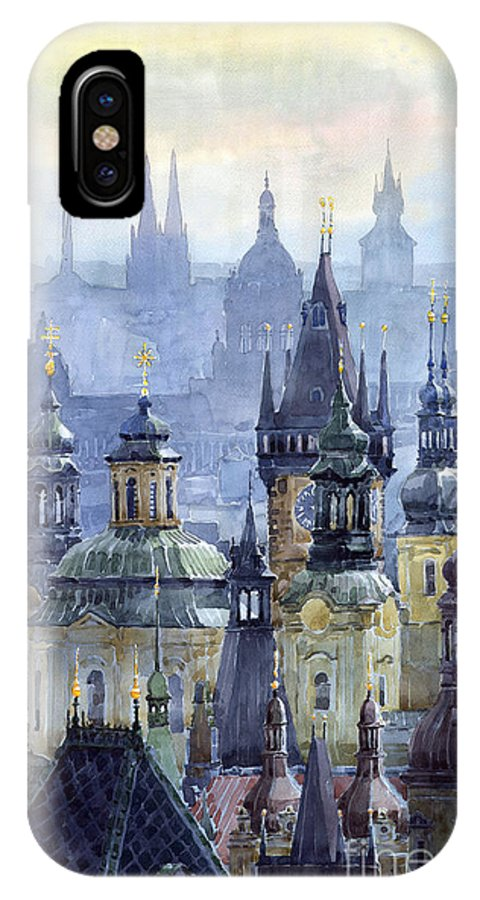 Architecture IPhone X Case featuring the painting Prague Towers by Yuriy Shevchuk