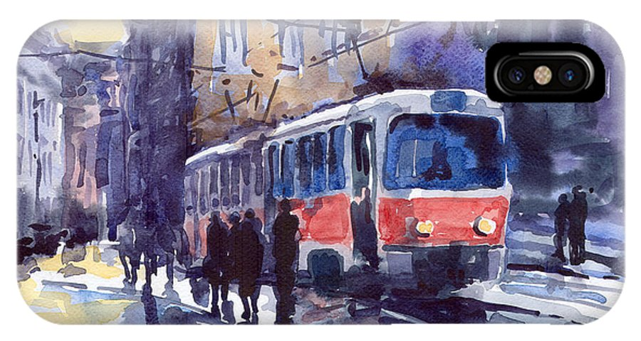 Cityscape IPhone X Case featuring the painting Prague Tram 02 by Yuriy Shevchuk