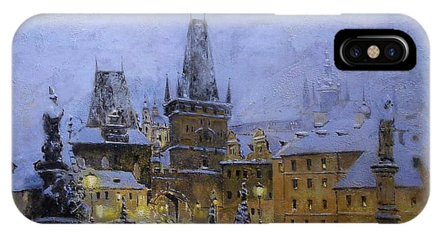 Prague IPhone X Case featuring the painting Prague by Vladimir Troitsky