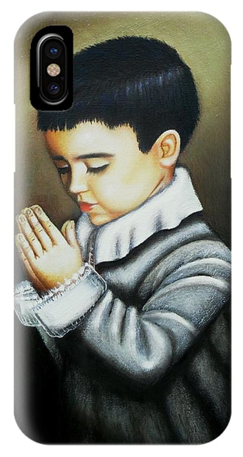 Beautiful Painting IPhone X Case featuring the painting Prayer by Monica Vega