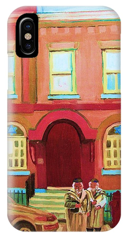 Bagg Street Synagogue IPhone X Case featuring the painting Prayer Shawls by Carole Spandau