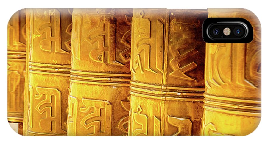 Asia IPhone X Case featuring the photograph Prayer Wheels by Emily M Wilson