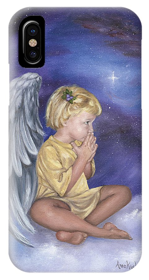 Christmas IPhone X Case featuring the painting Praying Angel by Anne Kushnick