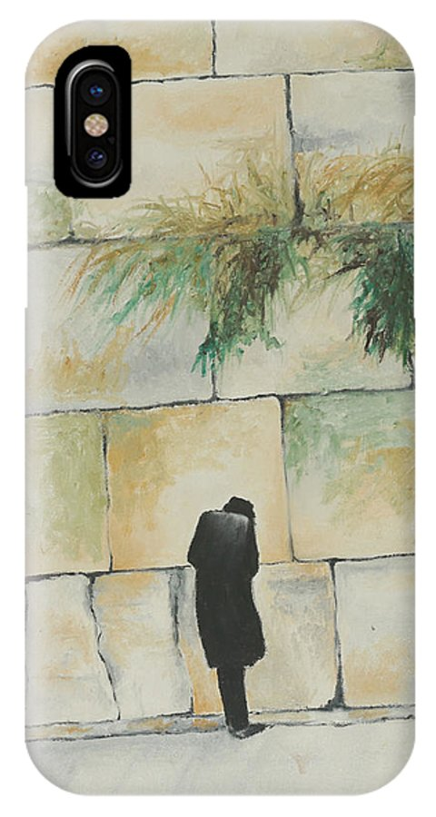 Prayer IPhone X Case featuring the painting Praying At The Western Wall by Miriam Leah