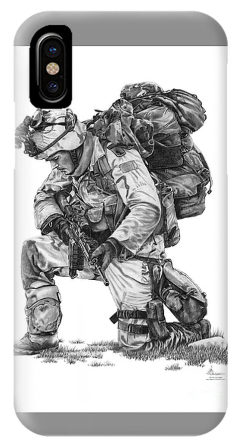 Pencil IPhone Case featuring the drawing Praying Soldier by Murphy Elliott