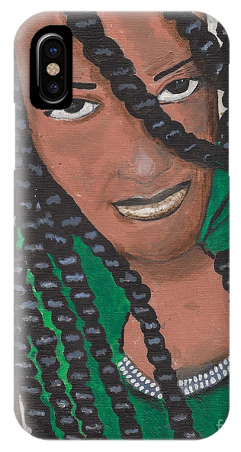 Women IPhone X Case featuring the painting Precelia by David Jackson