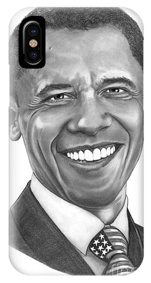 Drawing IPhone X Case featuring the drawing President Barack Obama By Murphy Art. Elliott by Murphy Elliott