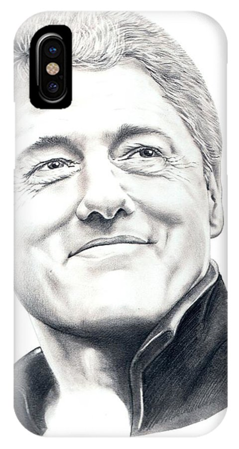 President Bill Clinton IPhone X Case featuring the drawing President Bill Clinton by Murphy Elliott