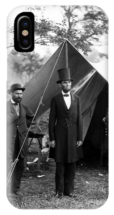 abraham Lincoln IPhone X Case featuring the photograph President Lincoln Meets With Generals After Victory At Antietam by International Images