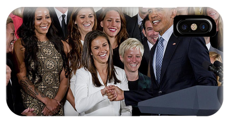 President IPhone X / XS Case featuring the photograph President Obama Honors Us Womens Soccer Team At White House #1 by B Christopher