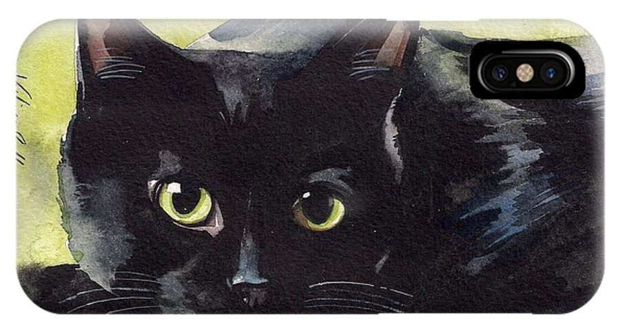 Back Cat IPhone X Case featuring the painting Pretty Eyes by Yuliya Podlinnova