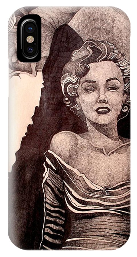 Marilyn Monroe IPhone X Case featuring the drawing Pretty Hate Machine by Nelson F Martinez