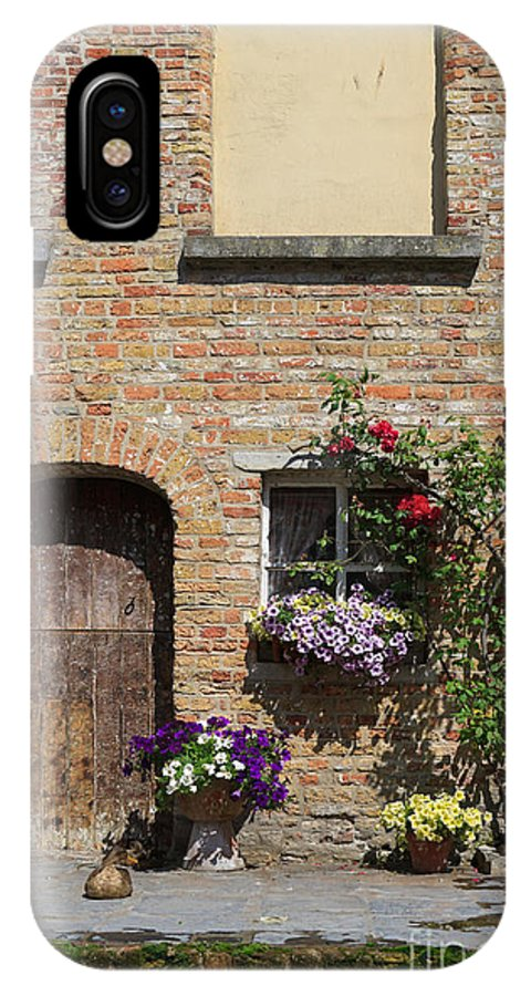Pretty IPhone X Case featuring the photograph Pretty Terrace Beside The Groenerei Canal In Bruges Belgium by Louise Heusinkveld