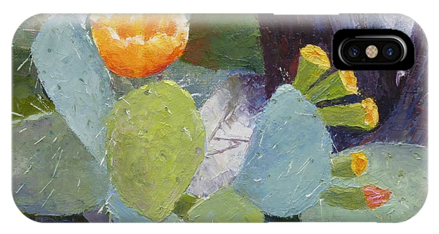 Oil Painting IPhone X Case featuring the painting Prickly Pear In Bloom by Susan Woodward