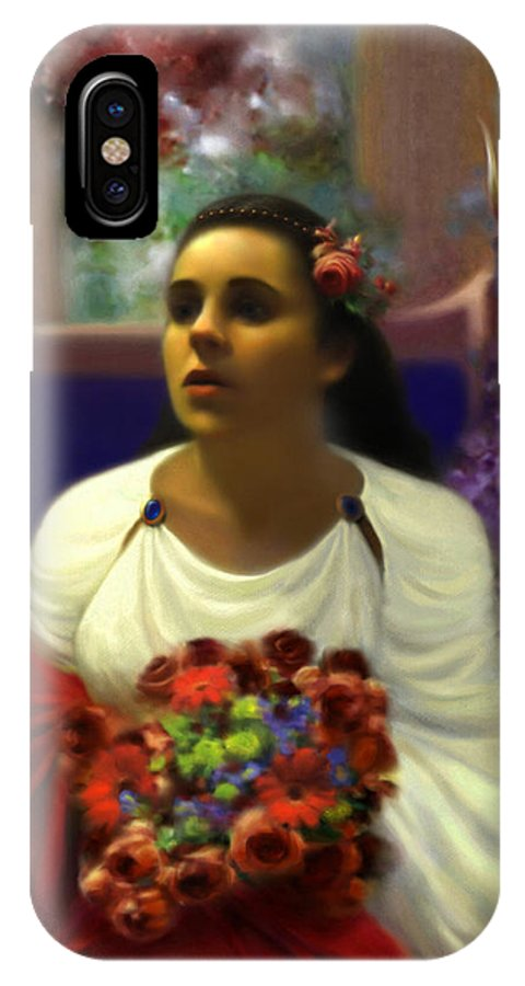 Goddess IPhone X Case featuring the digital art Priestess of the Floral Temple by Stephen Lucas