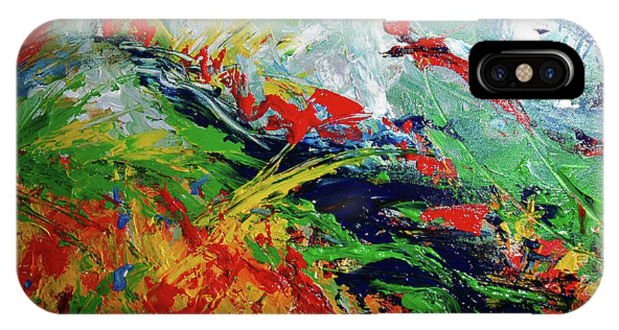Acrylic IPhone X Case featuring the painting Primary Abstract I Detail 3 by Nancy Mueller