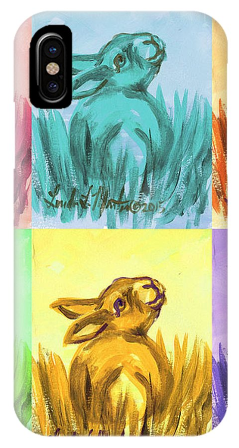 Rabbit IPhone X Case featuring the painting Primary Bunnies by Linda L Martin