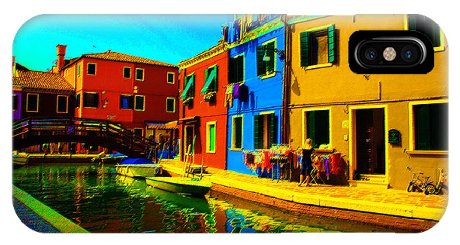 Burano IPhone X Case featuring the pastel Primary Colors 2 by Donna Corless