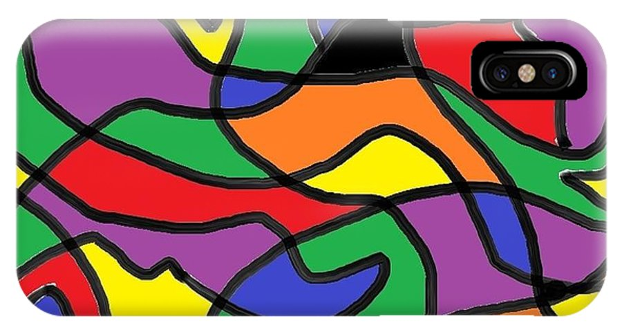 Digital Art IPhone X Case featuring the painting Primary Colors by Dotti Hannum