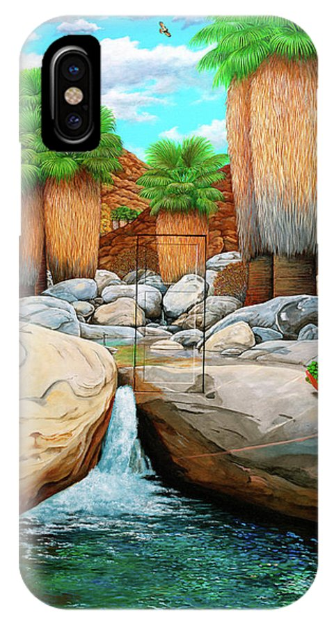 Landscape IPhone X Case featuring the painting Primary Escape Route by Snake Jagger