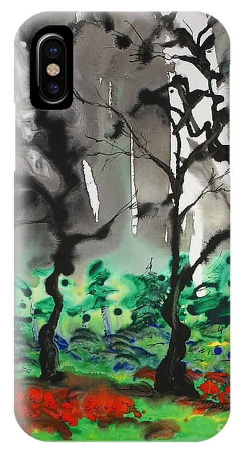 Forest IPhone X / XS Case featuring the painting Primary Forest by Nadine Rippelmeyer
