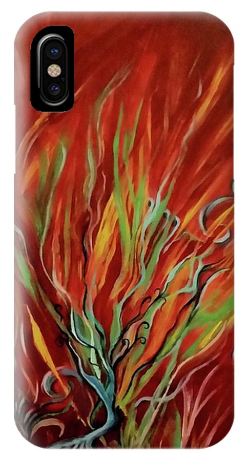 Flame IPhone X Case featuring the painting Primordial by Sandra Borrmann