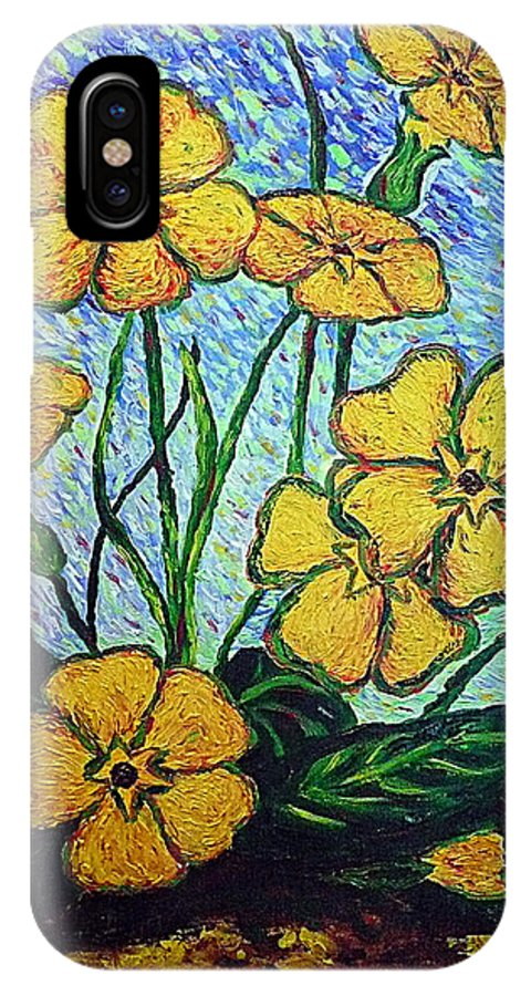 Flowers IPhone X Case featuring the painting Primula veris by Ericka Herazo
