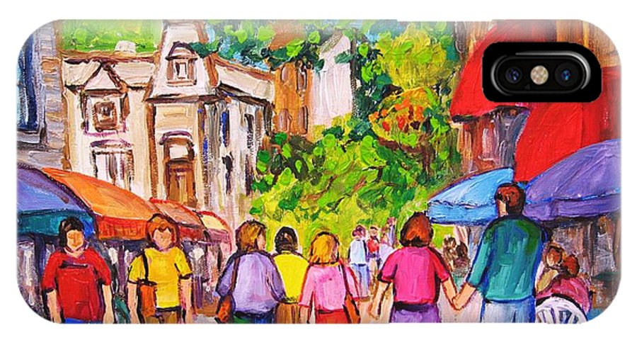 Rue Prince Arthur Montreal Street Scenes IPhone X Case featuring the painting Prince Arthur Street Montreal by Carole Spandau