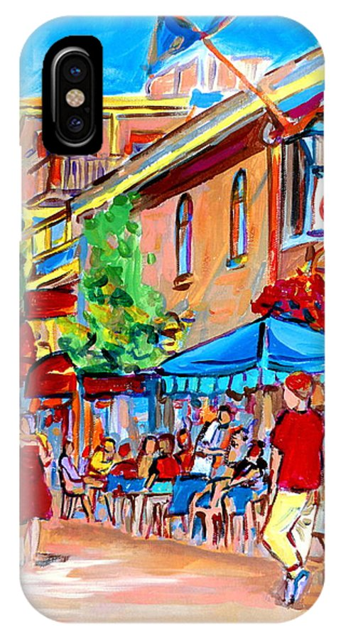 Cafes IPhone Case featuring the painting Prince Arthur Street Summer by Carole Spandau
