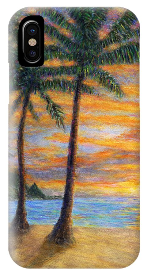 Coastal Decor IPhone X Case featuring the painting Princeville Beach Palms by Kenneth Grzesik