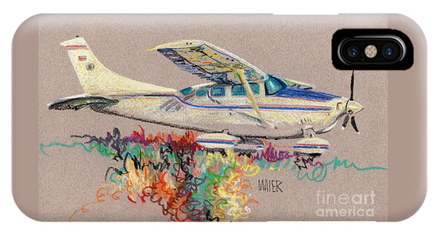 Small Plane IPhone X Case featuring the drawing Private Plane by Donald Maier