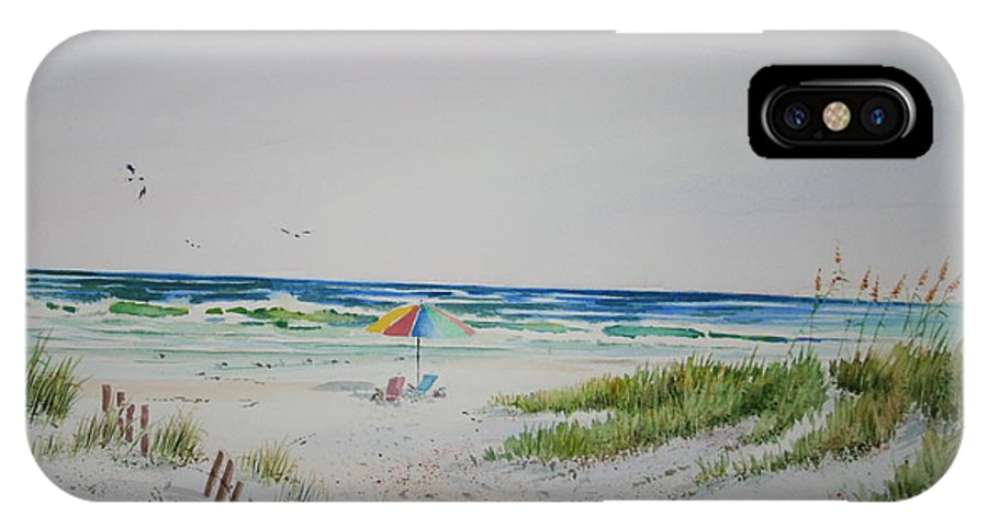 Sea Scape IPhone X Case featuring the painting Private Spot by Tom Harris