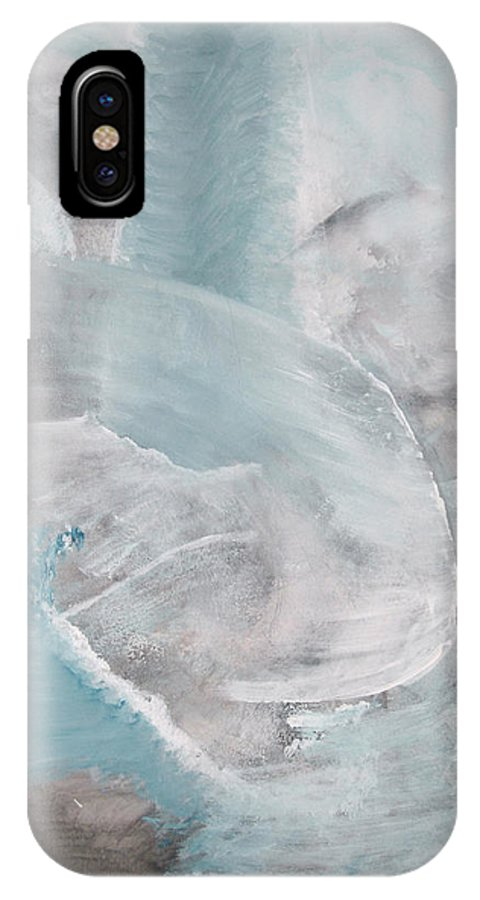 Abstract Acrylic Darkestartist Landscape Painting Waterfall Blue Water IPhone X Case featuring the painting Private Waterfall by Darkest Artist