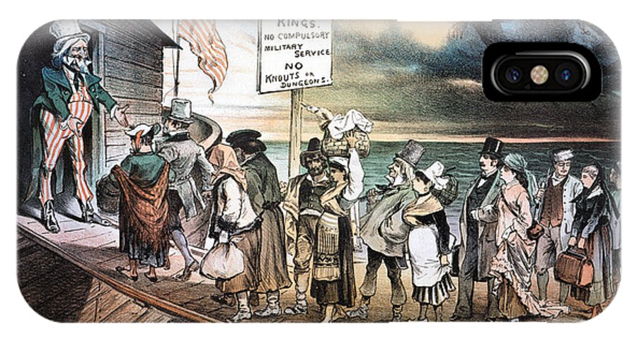 1880 IPhone X Case featuring the photograph Pro-immigration Cartoon by Granger