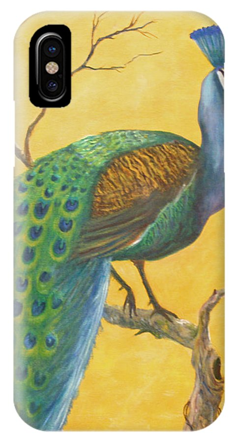 Peacock; Birds; Fall Leaves IPhone Case featuring the painting Proud As A Peacock by Ben Kiger