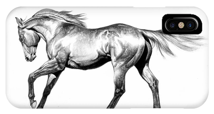 Thoroughbred IPhone X / XS Case featuring the drawing Proud by Howard Dubois
